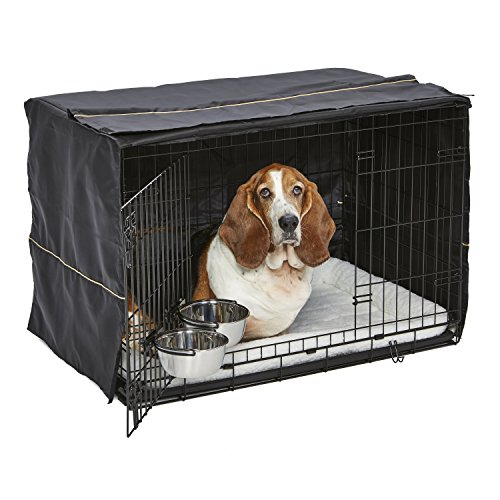 iCrate Dog Crate Starter Kit | 36-Inch Dog Crate Kit Ideal for MED / LARGE DOGS Weighing 41 - 70 Pounds | Includes Dog Crate, Pet Bed, 2 Dog Bowls & Dog Crate Cover | 1-YEAR MIDWEST QUALITY GUARANTEE