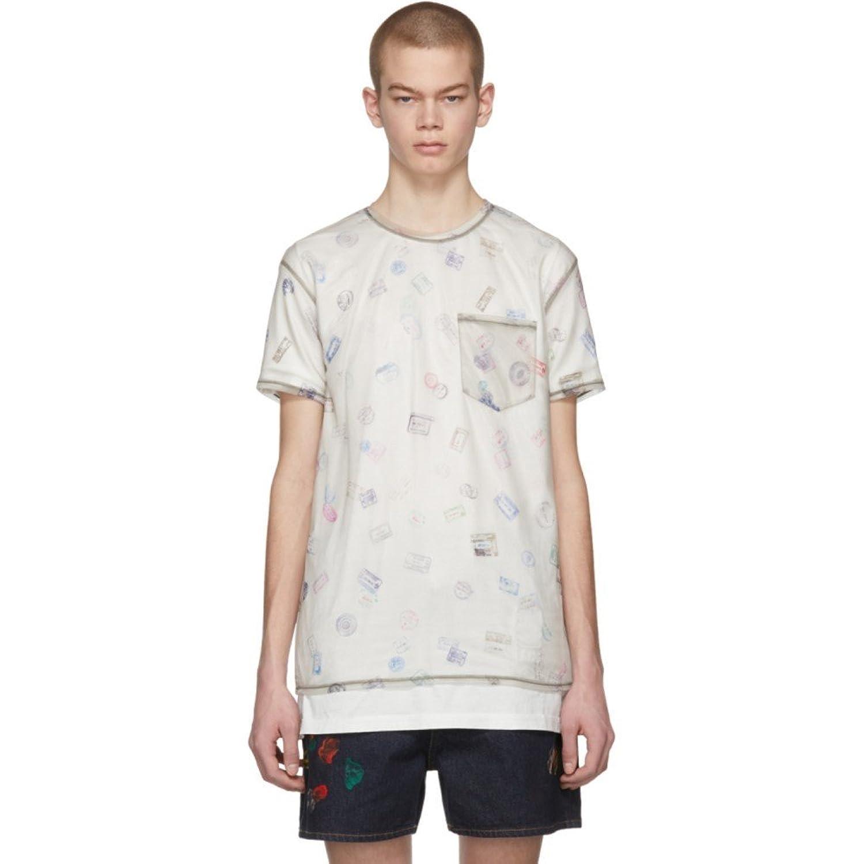 (アクネ ストゥディオズ) Acne Studios メンズ トップス Tシャツ Beige Batumy Stamp T-Shirt [並行輸入品] B07D14G5CL XX-Small