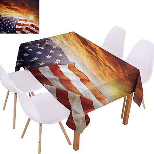 (UHOO2018 American Flag,Dust-Proof Tablecloth,Flag in Front of Sunset Sky with Horizon Light America Union Idyllic Photo,Stain Resistant, Wrinkle Resistant,Multicolor,60