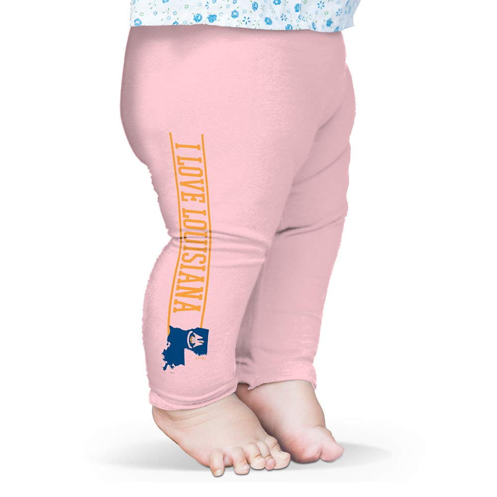 Twisted Envy Baby Pants I Love Louisiana State Flag Baby and Toddler Girls Leggings