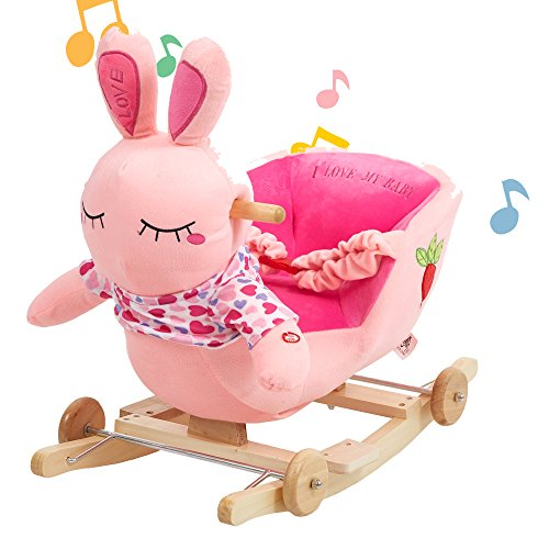Lucky Tree Kids Rocking Horse Chair Toys Girls Wooden Plush Bunny Riding Rocker Animal Ride on,Pink Rabbit