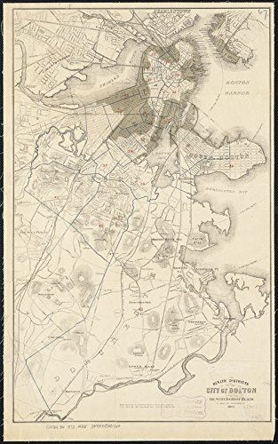 Historic Map | 1870 Health districts of the city of Boston | Antique Vintage Reproduction
