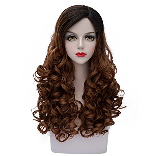 TopWigy Women's Long Wavy Hair Wig Fashionable Ombre 2 Tone Black to Brown Heat Resistant Synthetic Cosplay Costume Full Wig 24