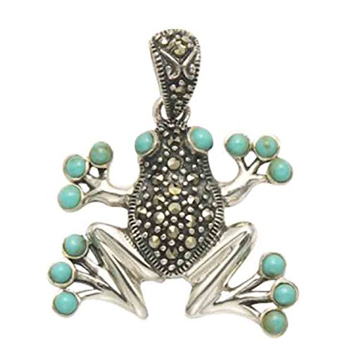 Marcasite Eyes Pendant - Wild Things Sterling Silver & Marcasite Frog Pendant w/Simulated Turquoise Eyes & Toe Pads