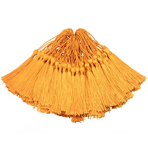 Orange Tassel (100pcs 13cm/5 Inch Silky Floss Bookmark Tassels with 2-Inch Cord Loop and Small Chinese Knot for Jewelry Making, Souvenir, Bookmarks, DIY Craft Accessory (Orange))