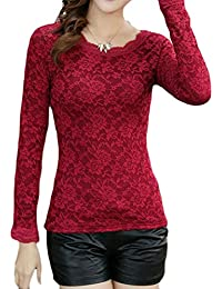 Print Lace Fleece Lined Long Sleeve Thicken Blouse T-Shirt