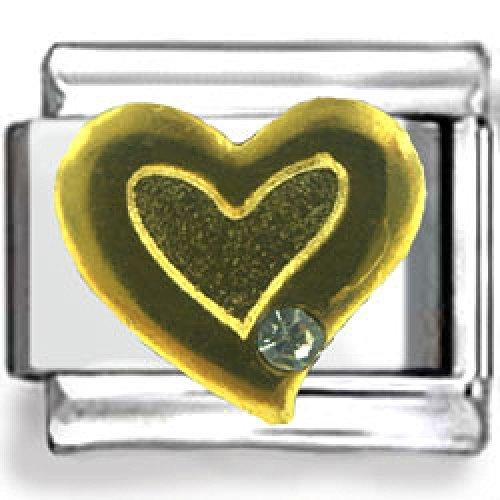 Gold Fancy Heart Design Enamel Italian Charm