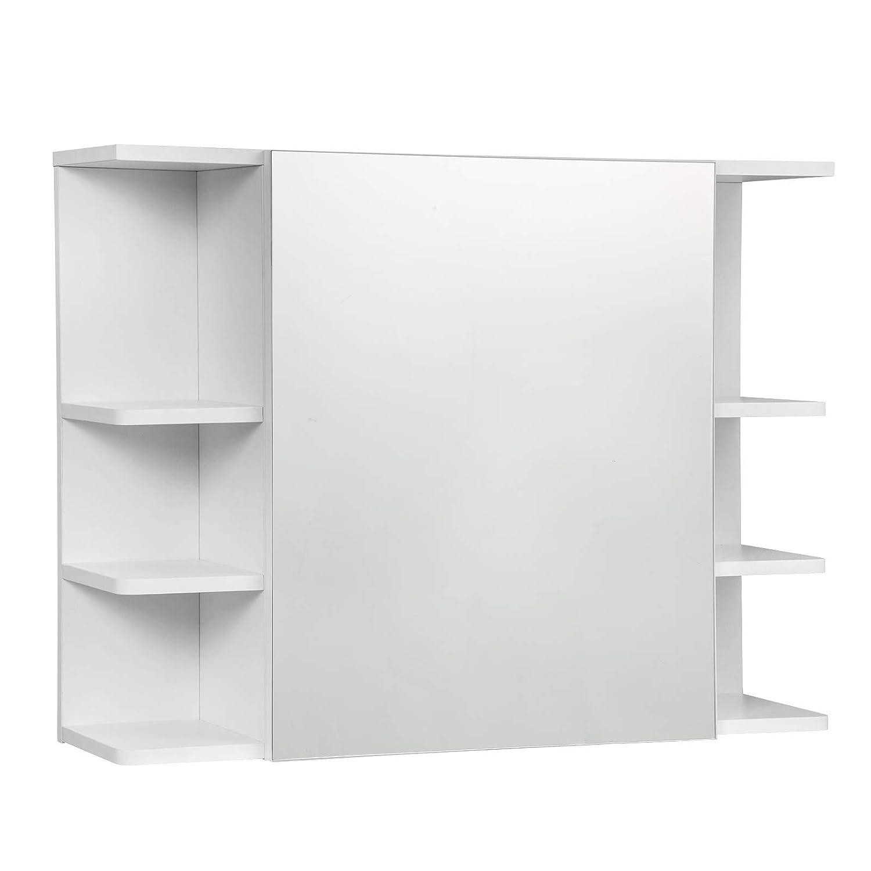 EUGAD Armadietto a Specchio da Bagno Mobiletto Pensile a Parete con 8 Mensole 80x20x60cm Bianco 0134WY