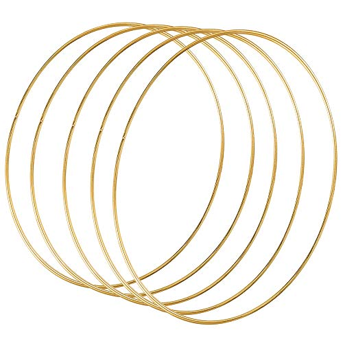 Sntieecr 5 Pack 14 Inch Large Metal Floral Hoop Wreath Macrame Gold Hoop Rings for DIY Wedding Wreath Decor, Dream Catcher and Macrame Wall Hanging Crafts from Sntieecr