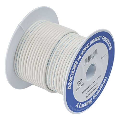 Ancor 111710 Marine Grade Electrical Tinned Copper Battery Cable (8-Gauge, White, 100-Feet)