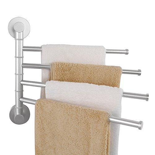 Lifewit Swing Out Towel Rack Wall Mount 13 inch Adjustable 4-Bar Folding Swivel Arm Towel Bar Bathroom Organizer, Aviation-grade Aluminum, Silver