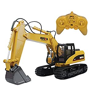 - 51R3CMEAaaL - 15 Channel 2.4G Alloy Radio Control Excavator Full Function Crawler Tractor Construction Vehicle Toy with Simulation Sound and Flashing Light Truck Model