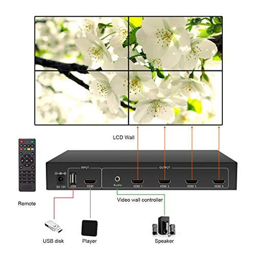 Video Wall Controller HDMI USB 2x2 Video Processor (Supports 1x2 1x3 2x1  3x1 4x1) 180 Degree Rotate LED/LCD Image Processor Screen Splicing M04