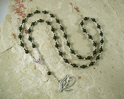 Egyptian Prayer Bead Necklace in Black Onyx with Eye of Horus/Eye of Ra Pendant (Eye Of Ra And Eye Of Horus)