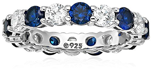 Round Diamond Sapphire Fashion Ring - Platinum-Plated Sterling Silver Created Sapphire and Swarovski Zirconia All-Around Band Ring, Size 7