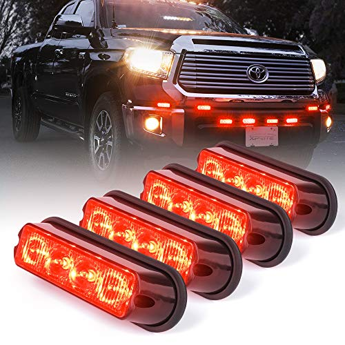- Xprite Red 4 LED 4 Watt Emergency Vehicle Waterproof Surface Mount Deck Dash Grille Strobe Light Warning Police Light Head with Clear Lens - 4 Pack