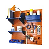 Wall Control Hobby Craft Pegboard Organizer Storage Kit, Orange/Blue