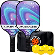 Amazin' Aces Cosmic Pickleball Paddle Set - Includes 2 USAPA-Approved Pickleball Paddles with Graphite Fac