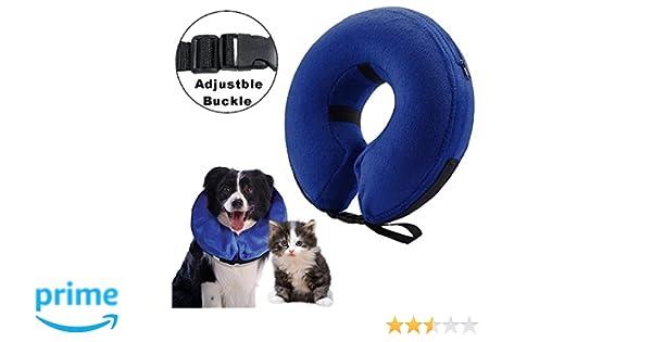 Collarín hinchable para perros y gatos, cono protector para mascotas, para su recuperación tras una cirugía, collarín electrónico, evita que las ...