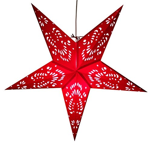 Crimson-Red-Paper-Star-Lantern-with-12-Foot-Power-Cord-Included