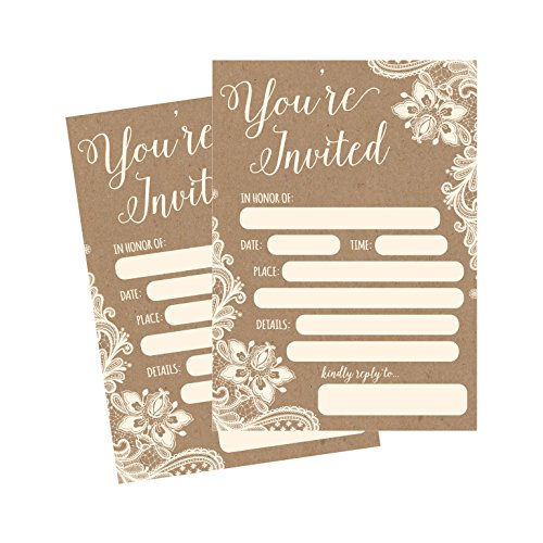 50 Fill In Invitations, Burlap and Lace, Kraft, Wedding Invitations, Bridal Shower Invitations, Rehearsal Dinner, Dinner Invites, Baby Shower Invite, Bachelorette Party Invites, Engagement, Graduation -