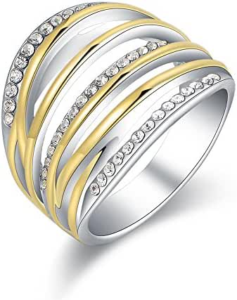 Mytys Yellow Gold and Silver Twist Crystal Fashion Statement Rings