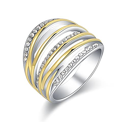 Mytys 2 Tone Gold and Silver Band Chunky Ring Twist Crystal Fashion Wide Statement Rings(8) (Rings Cheap Silver)