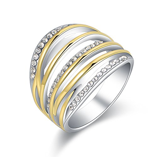 Mytys 2 Tone Gold and Silver Band Chunky Ring Twist Crystal Fashion Wide Statement Rings(10)