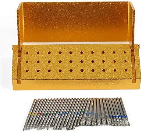2Pack 30Pcs Diamond Bur Set with Aluminium Alloy Shelf Golden Color
