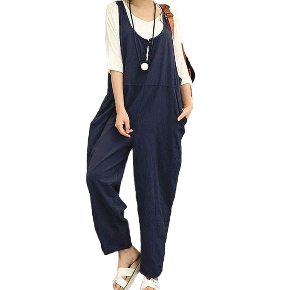 Women's Jumpsuit Soft Dungarees Wide Leg Casual Play Suits Overall (XL, Navy) Best Combination European Style fine Texture Law Firm Pretty Tine Neck School Simple Design