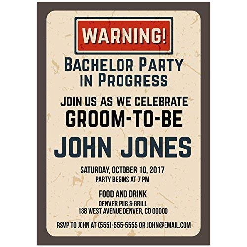 Amazon Com Warning Party In Progress Bachelor Party Invitations