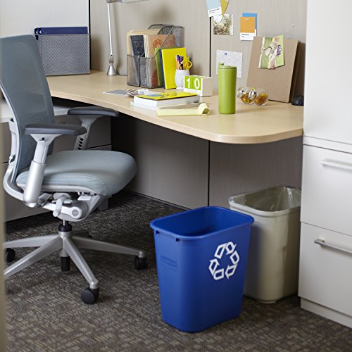 "Rubbermaid FG295673 Blue Medium Deskside Recycling Container with Universal Recycle Symbol, 28-1/8 qt Capacity, 14.4"" Length x 10.25"" Width x 15"" Height"