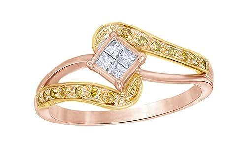 AFFY oro 375 10 ct Rosa oro redonda IJ diamante blanco