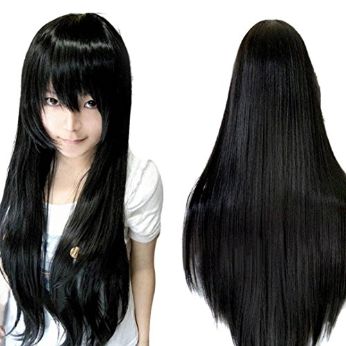 [Wig,Baomabao 80CM Long Straight Cosplay Wig Multicolor Heat Resistant Full Wigs (Black)] (50s Wig)