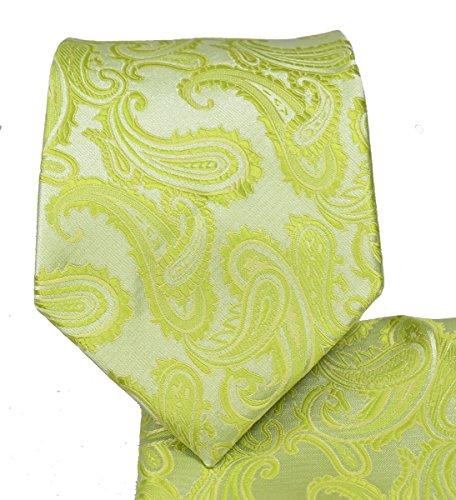 Lime Paisley Splash - Men's Paisley Necktie Set (Lime Green) #600-L