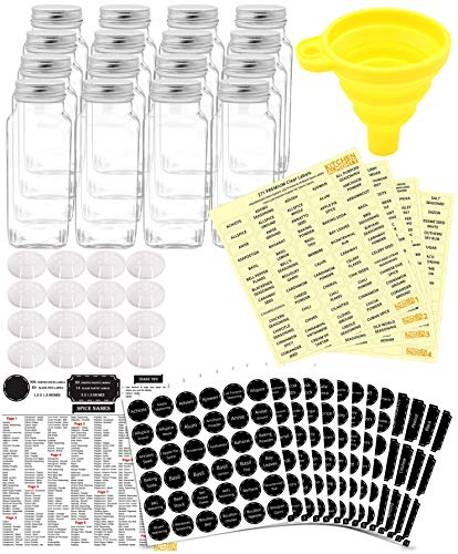 16 Glass Spice Jars Complete Set: 667 Chalkboard & Clear Printed Spice & Pantry Labels - Premier 8 fl Oz Empty Square Bottles w/Pour/Sift Shaker & Caps - Silicone Funnel Included by KITCHEN ALMIGHTY