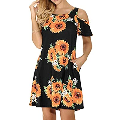TWGONE Sunflower Dress For Women Casual Cold Shoulder Short Sleeve Flower Print Loose Dress