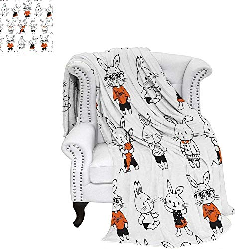 WilliamsDecor Funny Travel Throw Blanket Cute Retro Bunny Rabbits with Costumes Jack Hare Funky Bunnies Carrot Sketch Style Velvet Plush Throw Blanket 62