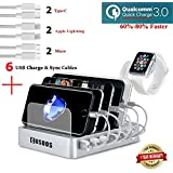 Fastest Charging Station with QC 3.0 Quick Charge,6 USB Cables,iWatch Holder,COSOOS Universal 6-Port Docking Station Stand, Best Device Organizer for iPhone,iPad,Samsung,LG,Tablet,Kindle(Silver White)