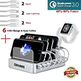 Fastest Charging Station with QC 3.0 Quick Charge,6 USB Cables(3 Type),iWatch Holder,COSOOS Universal 6-Port Docking Station,Best Phone Organizer for iPhone,iPad,Samsung,LG,Tablet,Kindle(Silver White)