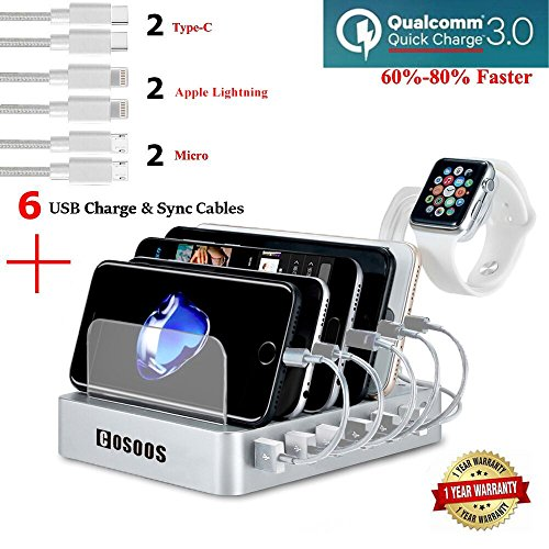 Fastest Charging Station with QC 3.0 Quick Charge,6 USB Cables(3 Type),iWatch Holder,COSOOS Universal 6-Port Docking Station,Best Phone Organizer for iPhone,iPad,Samsung,LG,Tablet,Kindle(Silver White) by COSOOS