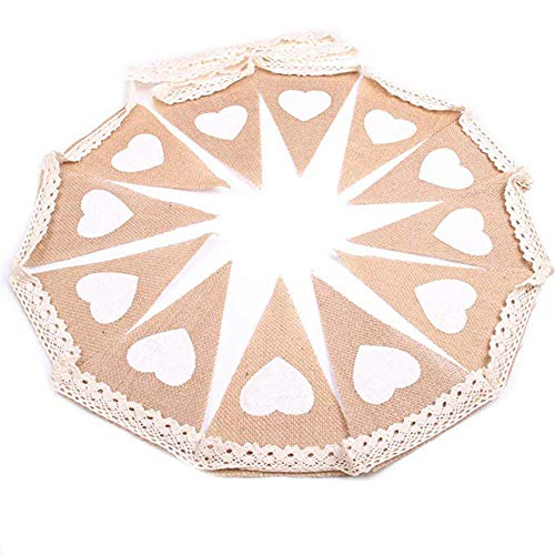 Junxia Love Heart Prints Burlap Bunting Baner for Wedding Party Decoration (Docoration -