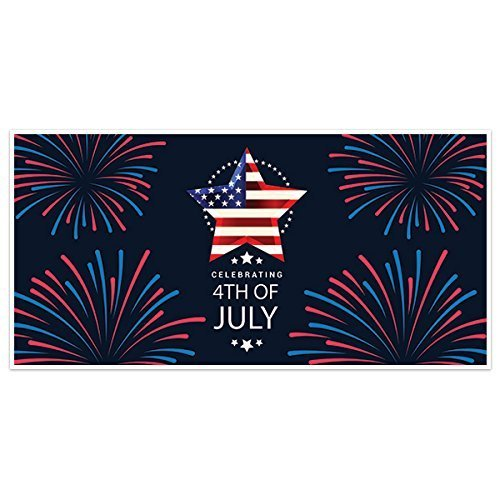 Celebrating Fireworks Patriotic Happy 4th of July Party Banner Decoration