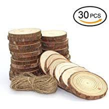 """UoUo 30 Pcs 2.0 """"-2.75"""" Natural Wood Slices Round Unfinished Predrilled Tree Bark Log Discs With 49 Feet Jute Twine FOR DIY Ornaments Easter/Party Decoration"""