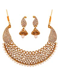 Touchstone Indian Bollywood exemplary Mughal era inspired Kundan polki look faux pearls paisley motif bridal designer hasli necklace set for women in antique gold tone