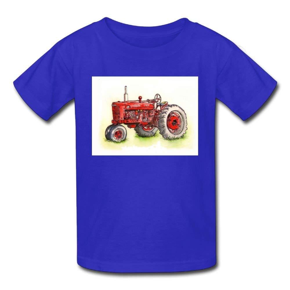 Moniery Cute Short-Sleeves Tee Red Comic Tractor Birthday Day Baby Boy Kids
