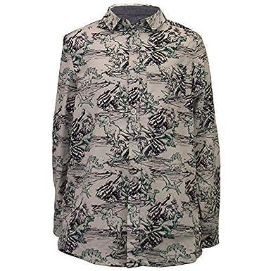 Brave Soul Boys Cotton Shirt Dinosaur Print Collared Neck Long Sleeved Spaceship