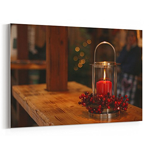 Prayer Flower Red Bowl (Westlake Art Tabletop Candle - 24x36 Canvas Print Wall Art - Canvas Stretched Gallery Wrap Modern Picture Photography Artwork - Ready to Hang 24x36 Inch)