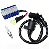 BUNDLE Ignition Repair Kit: Scooter Troubleshooting No Spark. INCLUDES: Ignition Coil (2-Pin) + NGK Spark Plug C7HSA + Performance Racing CDI for GY6 50cc 125cc 150cc