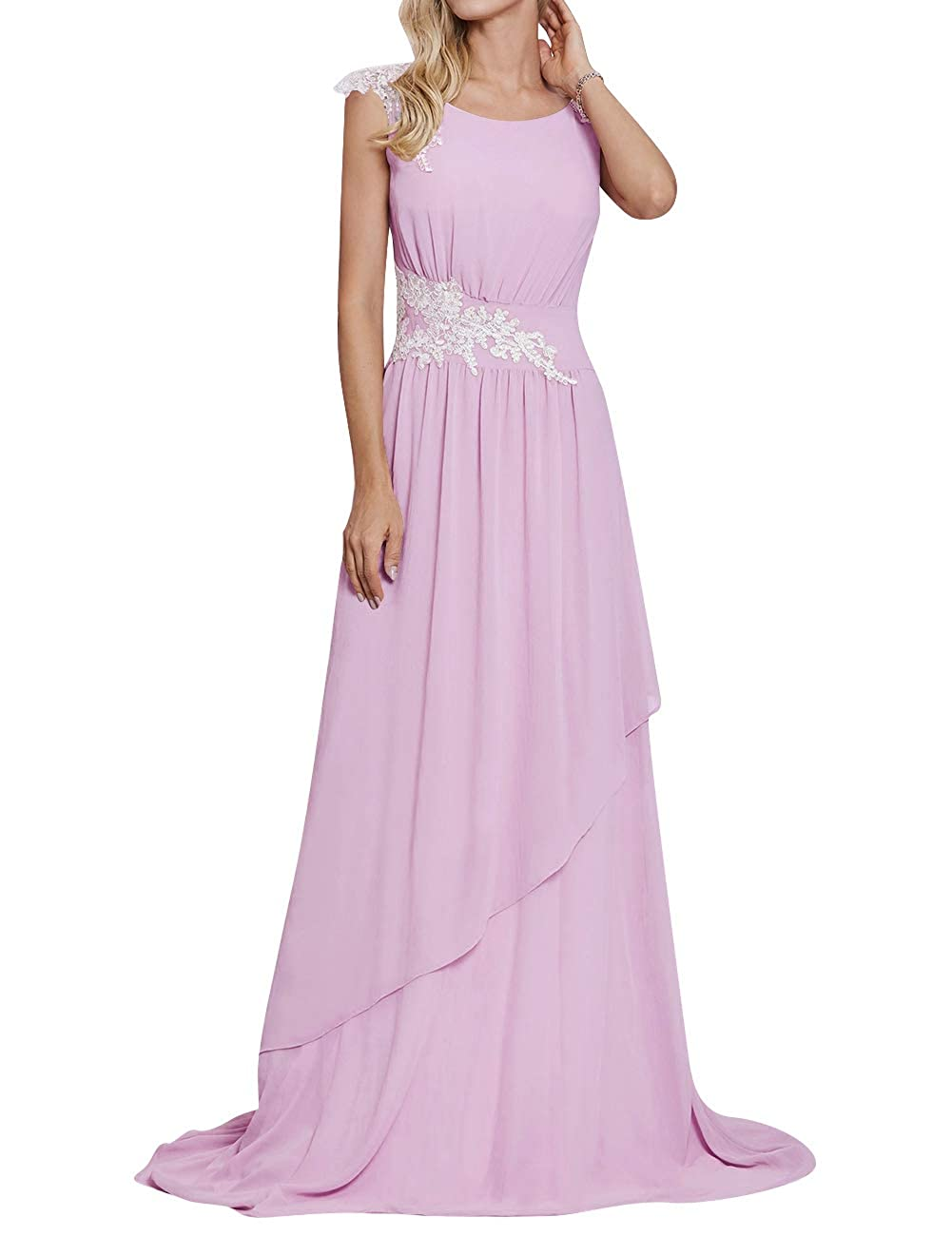 Lavender Long Evening Party Dress Scoop Mother of The Bride Dresses Lace Appliques